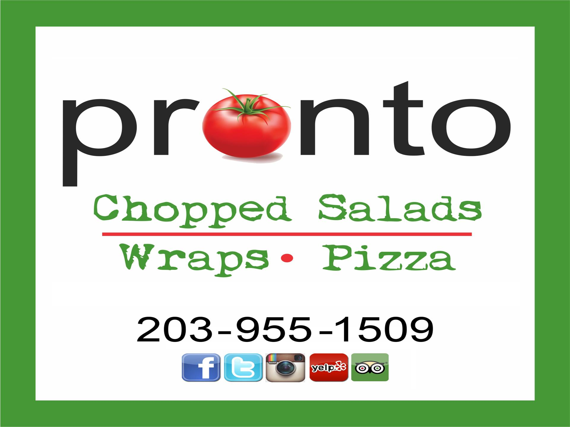 Pronto Logo with contact info