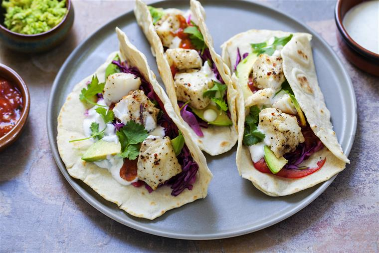 Fish Tacos with cilantro