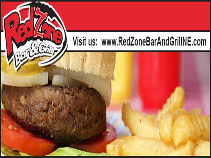 A photo with the Red Zone bar & grill url on top and a burger with French fries