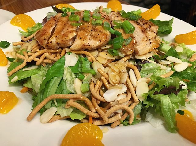 Oriental grilled chicken salad with tangarine slices in a bowl
