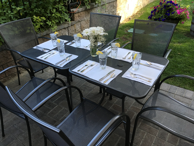 Table setting on a patio outside