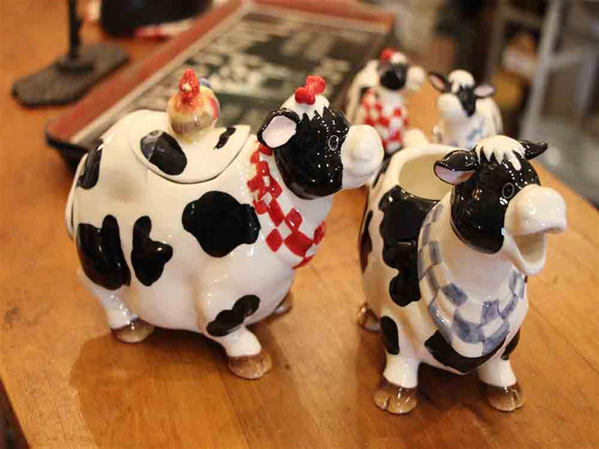 Cow figurines on counter