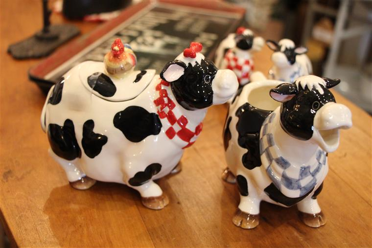 Cow figurines on table