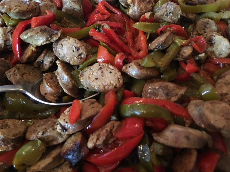 sausage and peppers close up