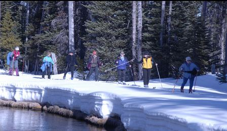 people cross country skiing