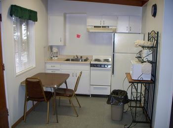 studio with a kitchen