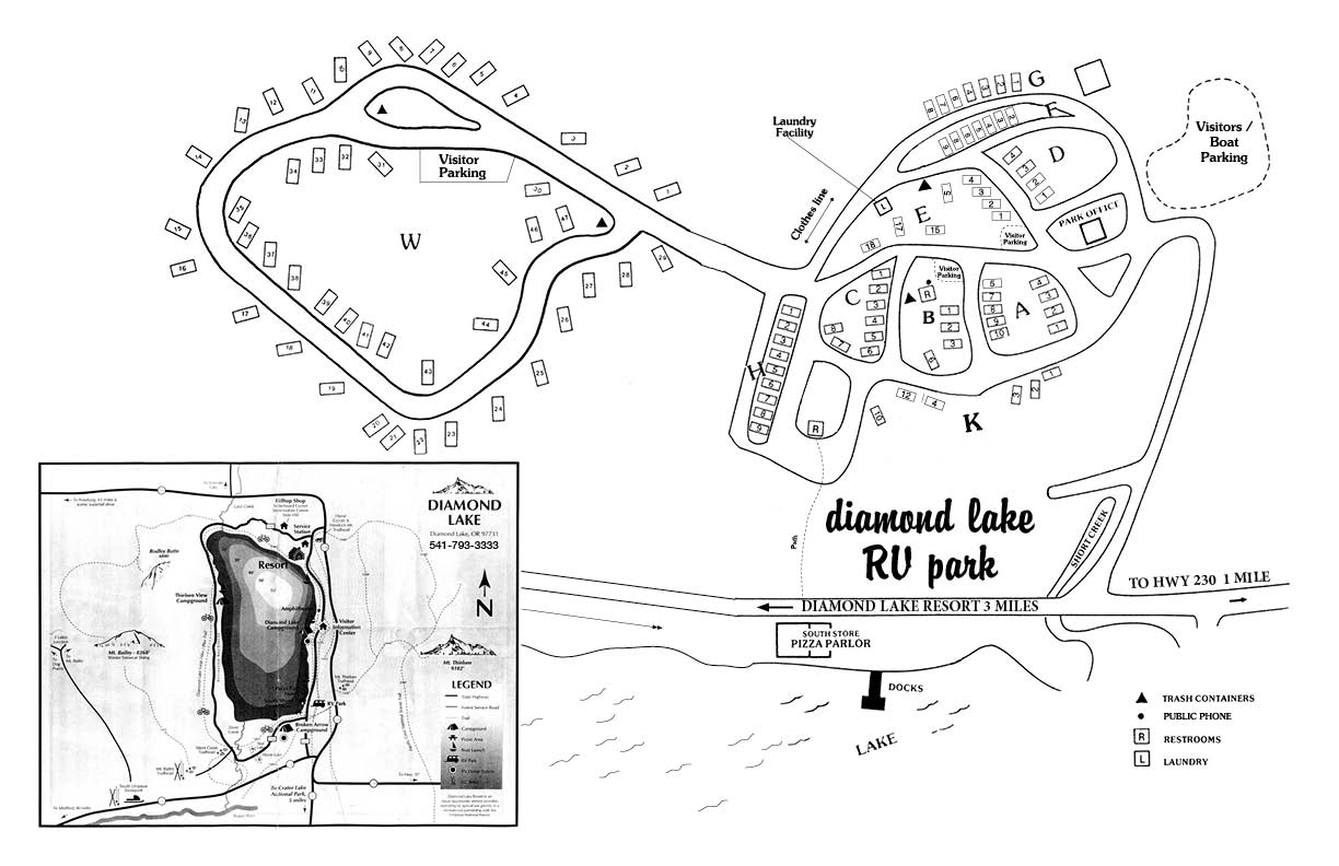 Diamond Lake RV Park map