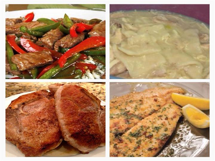 a photo collage of steak and peppers, two crab cakes, flounder with lemon, and a dich of chicken santa fe