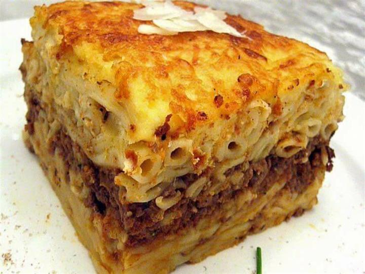 meat lasagna with gold crisp cheese on top