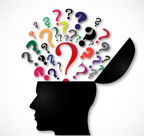 trvia clipart with question marks coming out of a sketch of a human head
