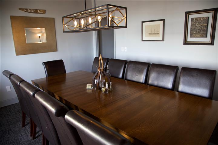 interior dining area with a table and chairs