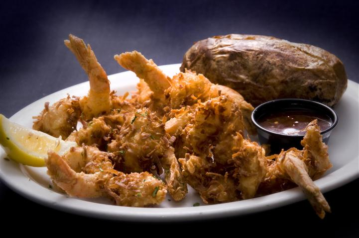 Fried shrimp with a baked potato