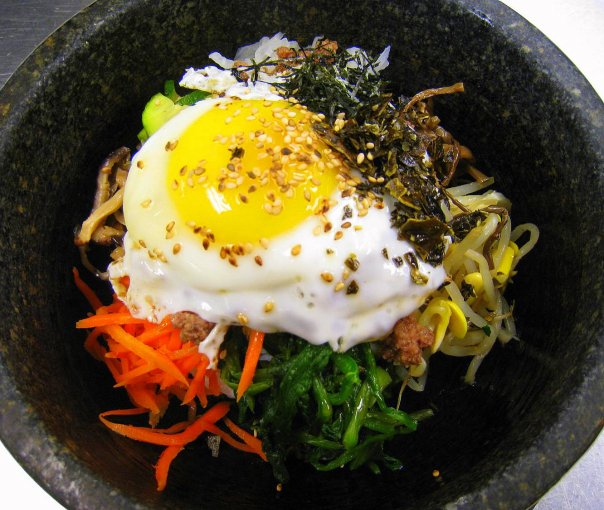 vegetable bowl with sunny side egg on top