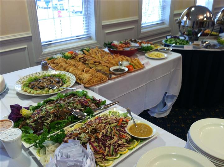 catering display of various entrees for a buffet