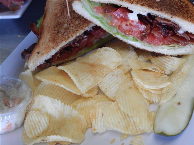 blt sandwich with a side of chips