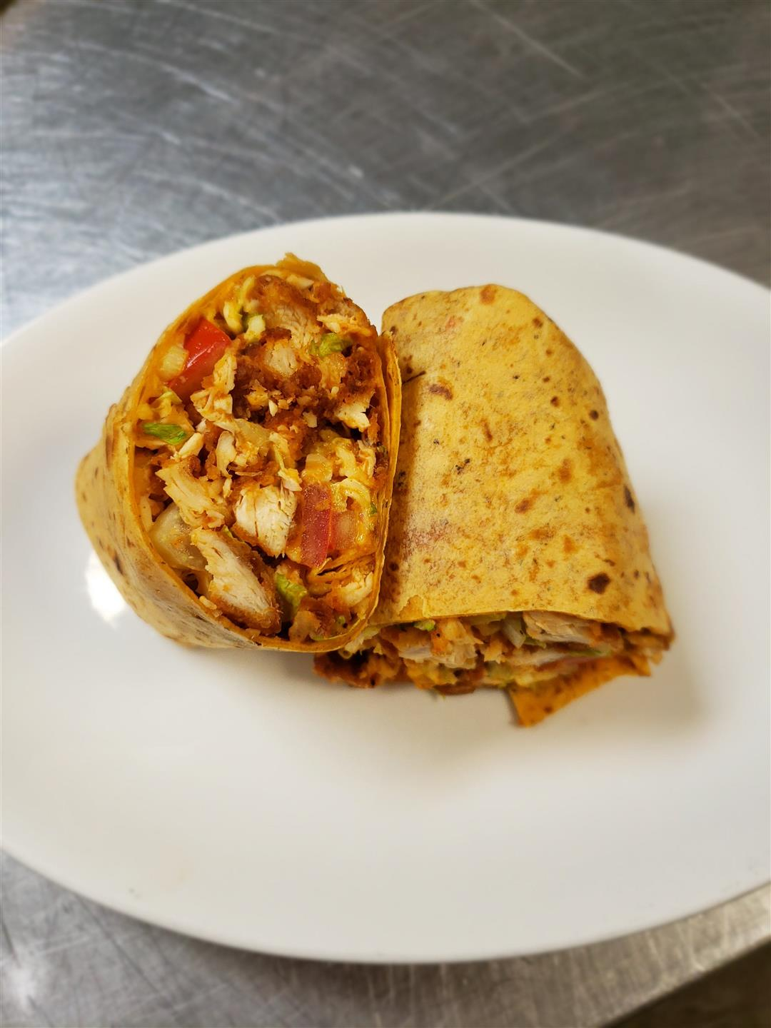 Buffalo Chicken Wrap on a plate