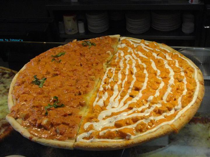 large split pizza with buffalo chicken and chicken alla vodka