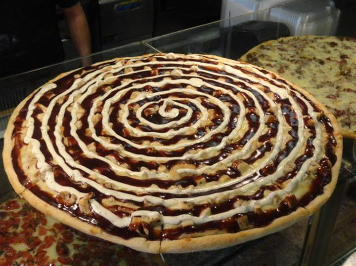 bbq pizza on a counter