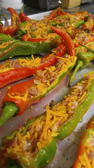 baked stuffed chilis with meat and cheese