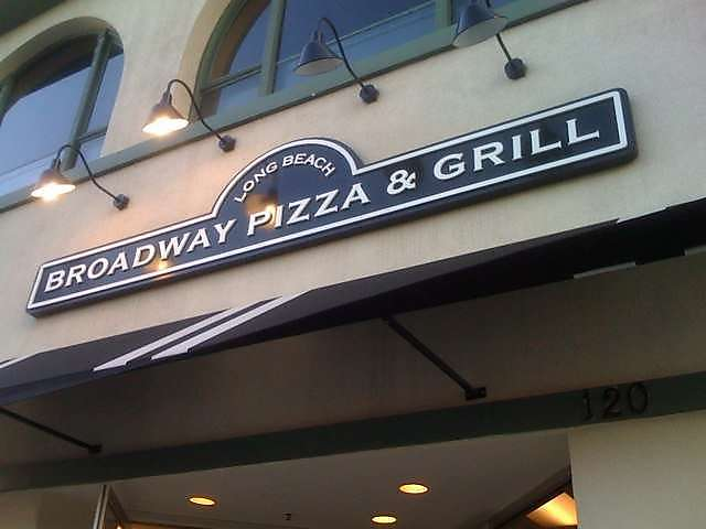 Broadway Pizza & Grill sign over front entrance