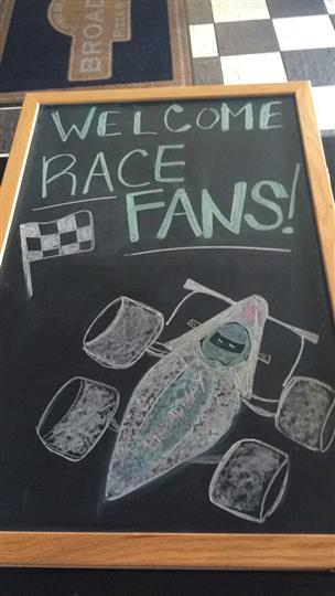 Chalkboard sign - welcome race fans.