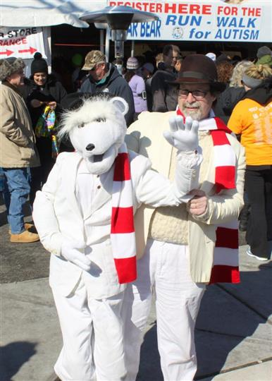 People wearing polar bear costumes