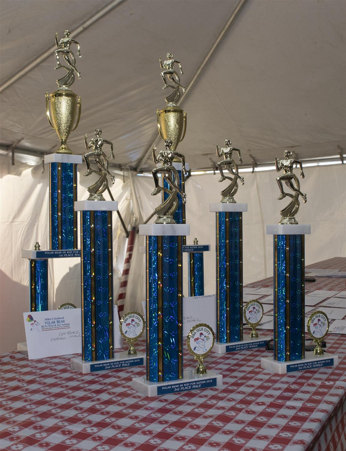 trophys on display