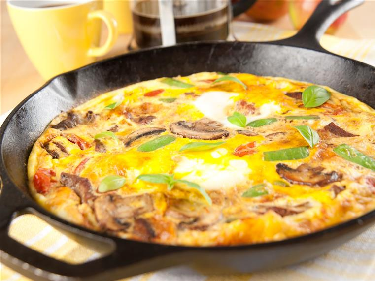 vegetable omelette on a skillet