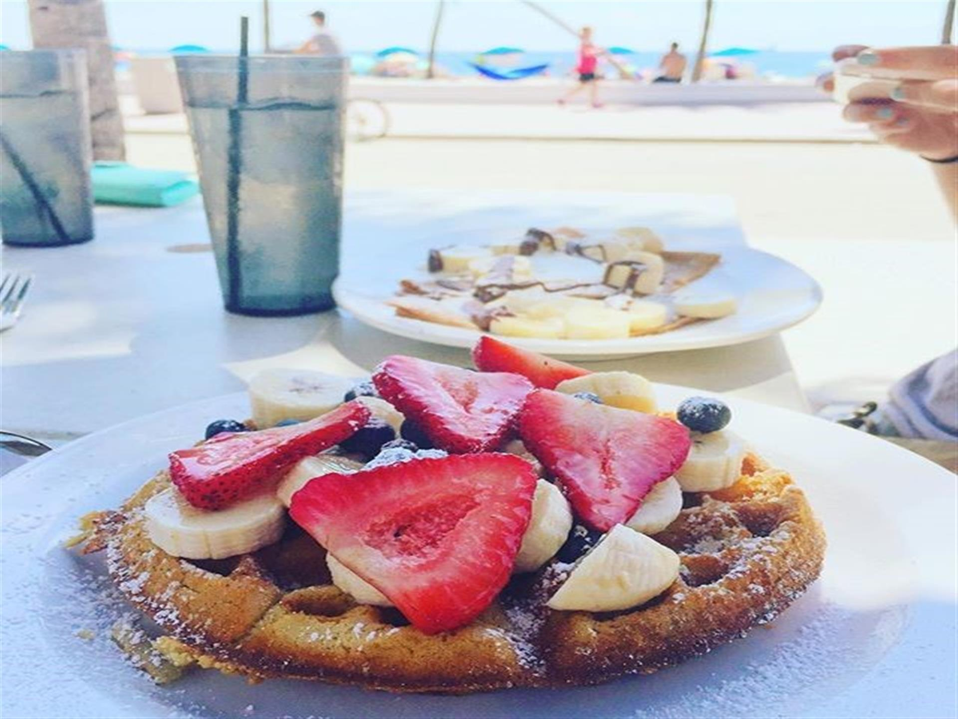 Waffles with Strawberries, Blueberries and Bananas - With a View