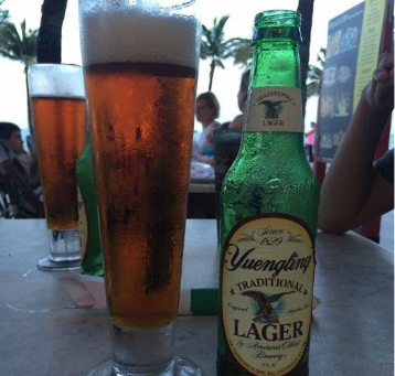 bottle of yuengling lager with a glass