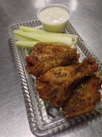 seasoned wings with celery and ranch