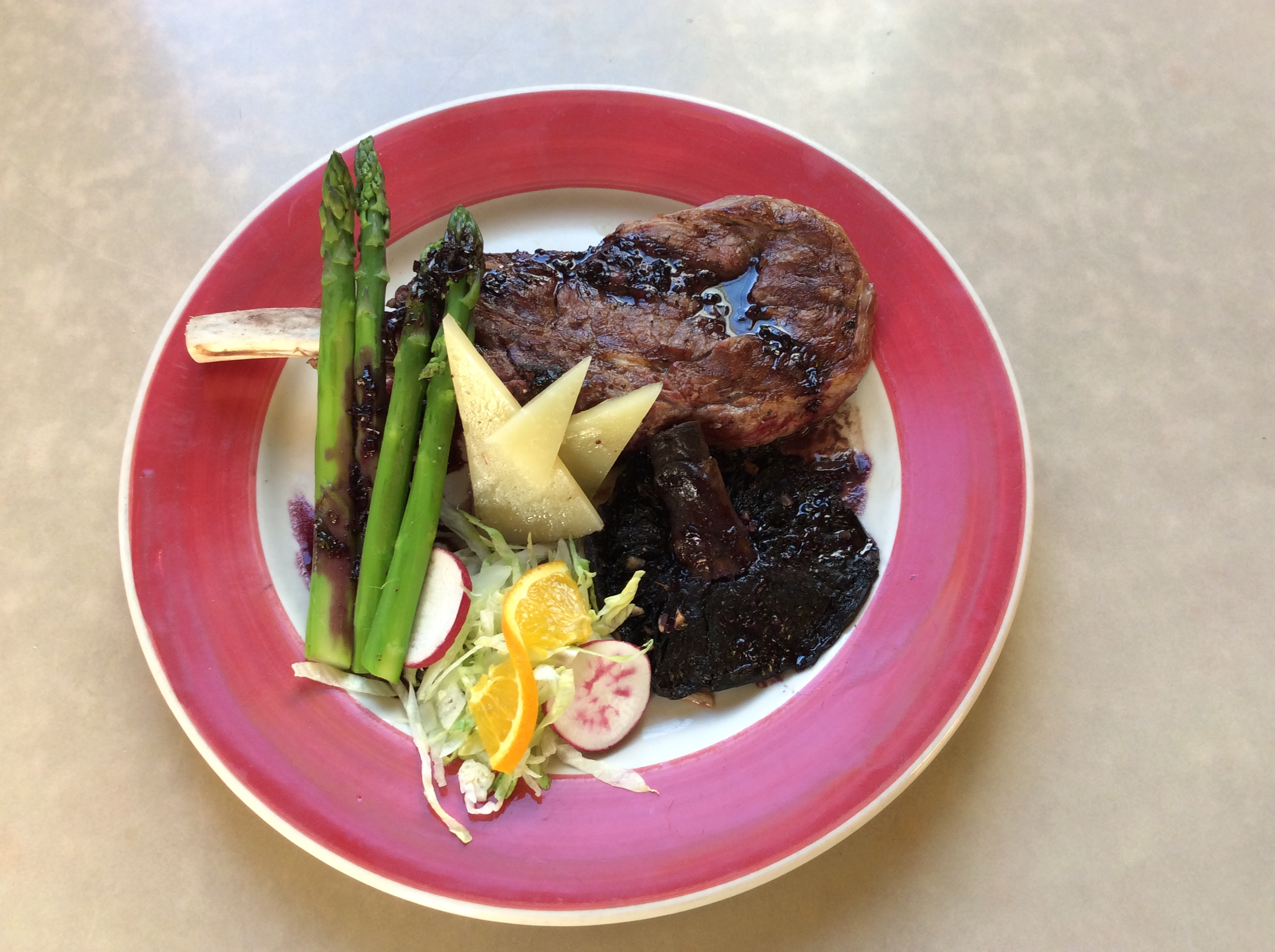 plate with steak and vegetables