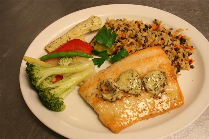 salmon fillet with rice and vegetables