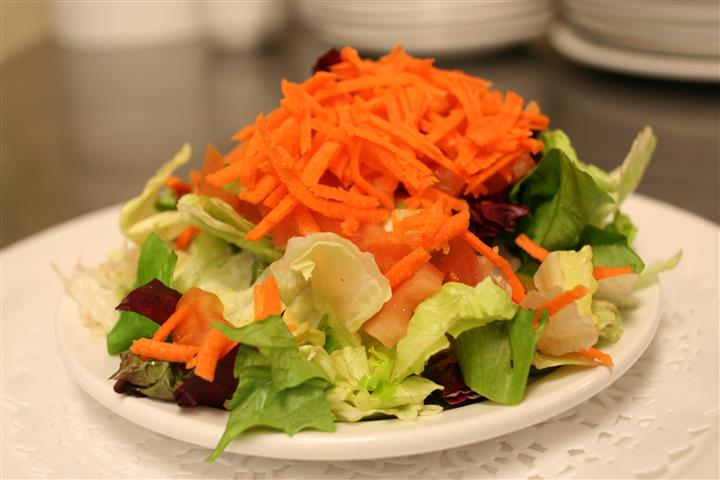 garden salad with carrots and tomatoes