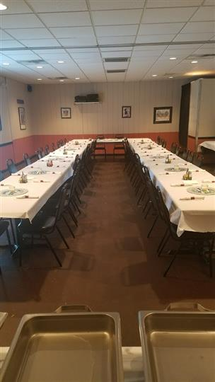 Long tables with black table cloths