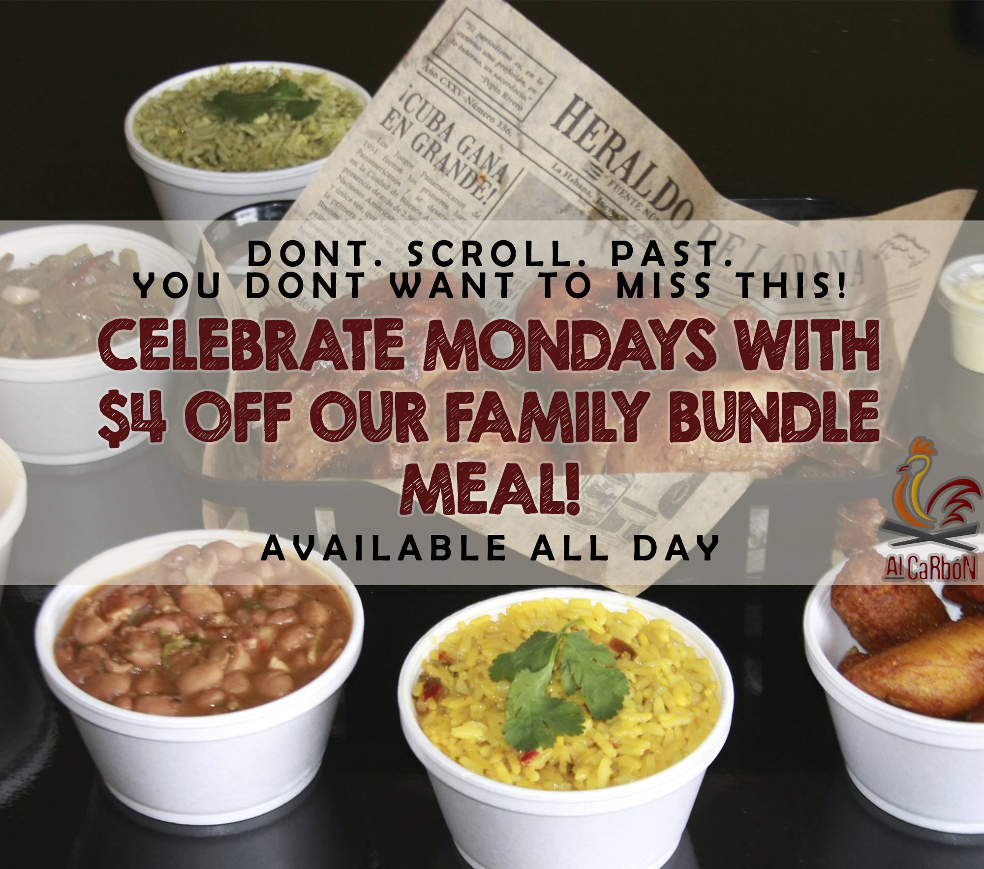 don't. scroll. past. you don't want to miss this! Celebrate Mondays with $4 off our Family Bundle Meal! Available All Day