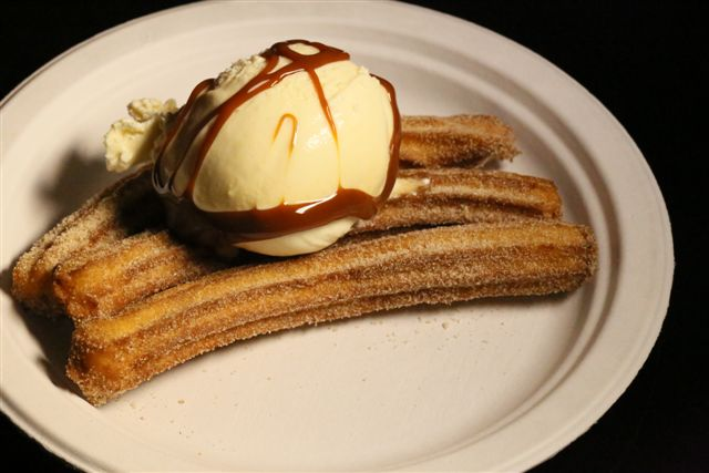 churros topped with ice cream