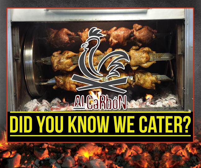 "sign that reads, ""Did you know we cater?"""