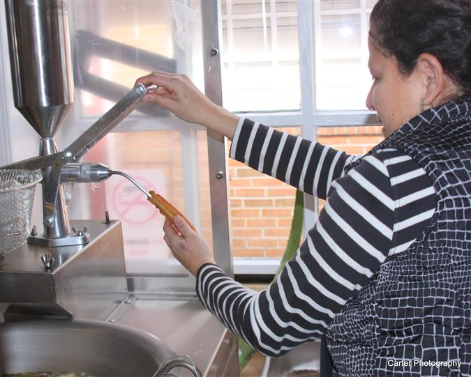 an employee working in the kitchen