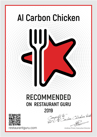 al carbon chicken recommeded on restaurant guru 2019 restaurantguru.com. congrats to the al carbon chicken team. andrew priest, executive director