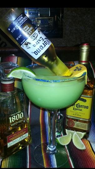 large margarita with corona bottle