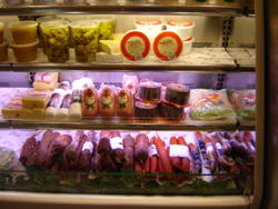 Meats and cheeses on display