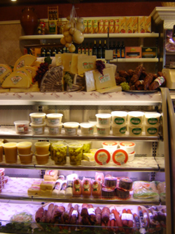 Cheese at counter for purchase