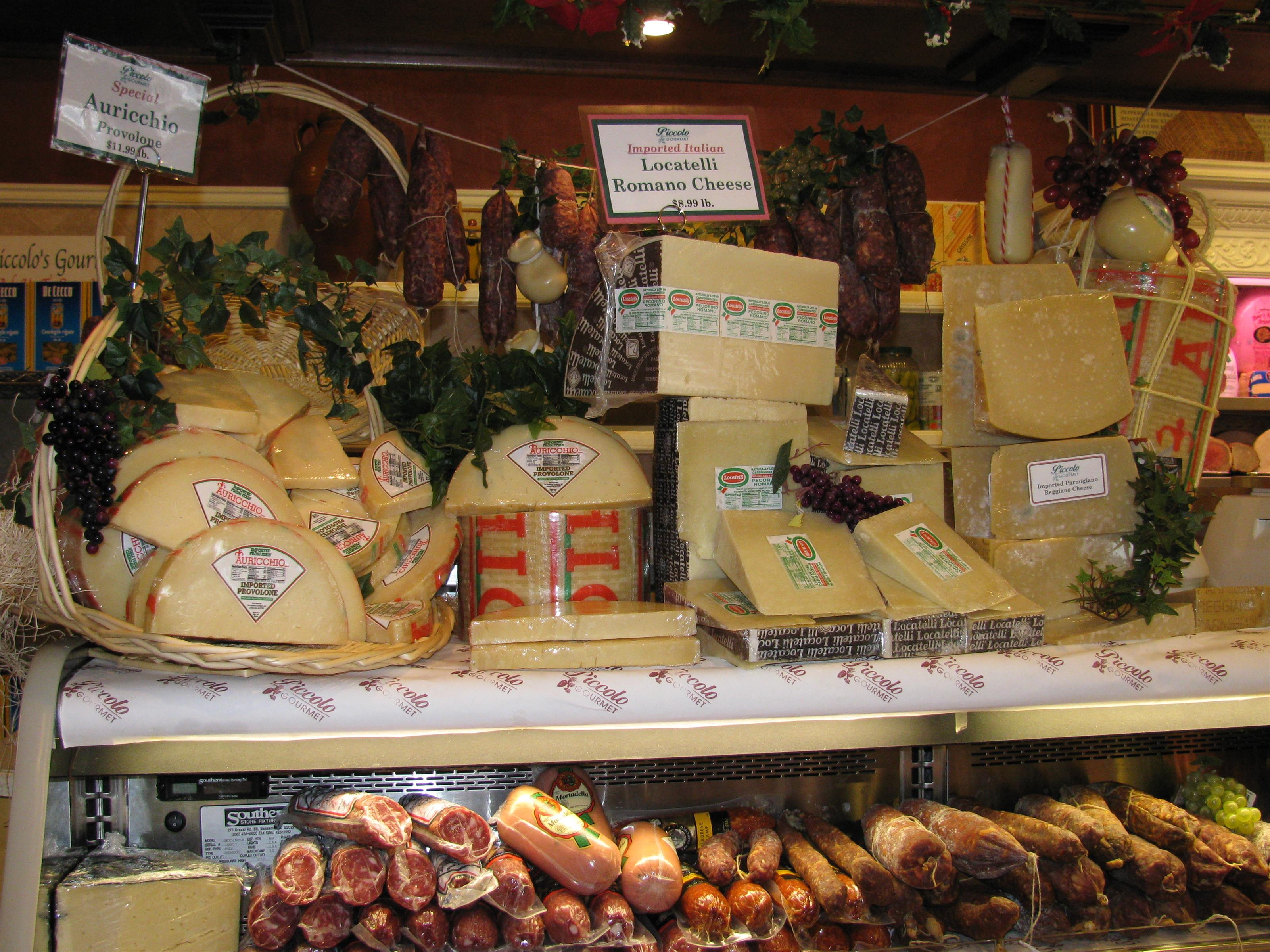Cheeses and meats on display