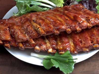 bbq rack of ribs on a plate
