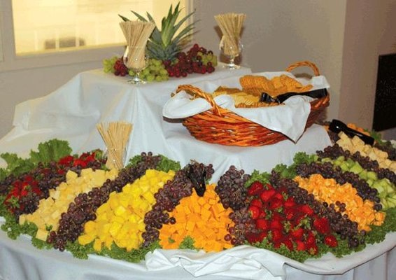 catering display of fruits and bread