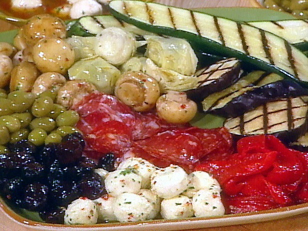 display of grilled vegetables