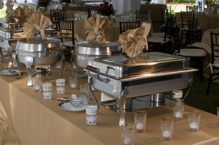 catering display of metal food trays