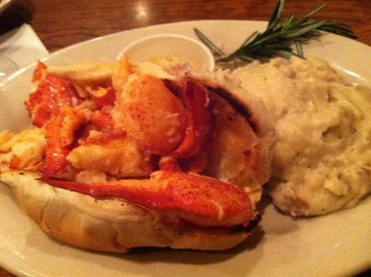 lobster roll with mashed potatoes