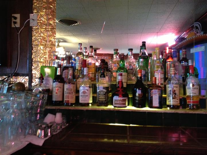 various alcohol on the bar